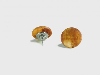 Burl button earrings