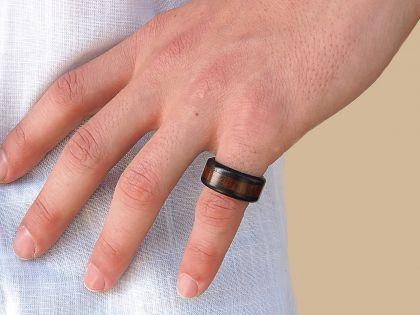 Snakewood-ebony ring
