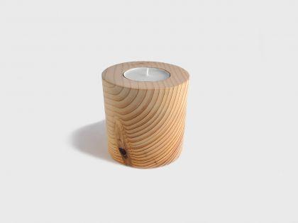 Cylinder cedar candle holder