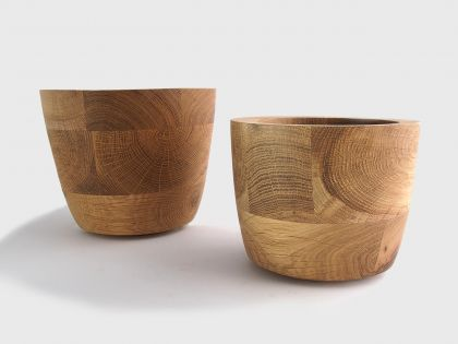Pair of segmented oak vases