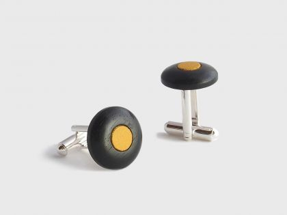 Ebony cufflinks and leather