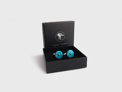Horse chestnut cufflinks blue sea